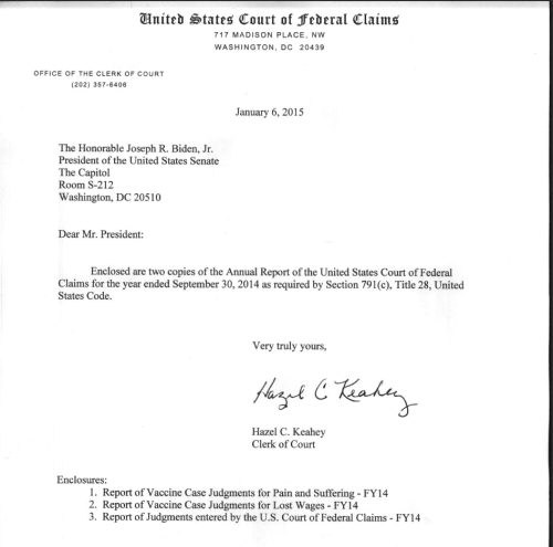 2014 U.S. Special Claims Court, or Vaccine Court, sent to Vice President Joseph Biden